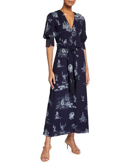 Lela Rose Reyrosa Toile Blouson-Sleeve Fringe Midi Dress