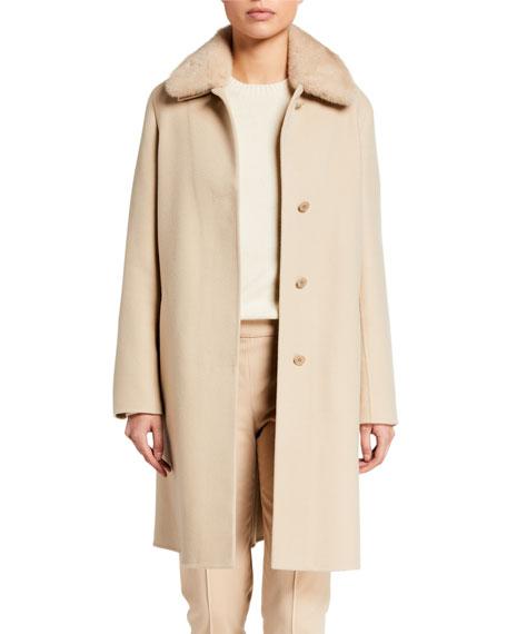 Loro Piana Cashmere Straight-Coat with Mink Collar