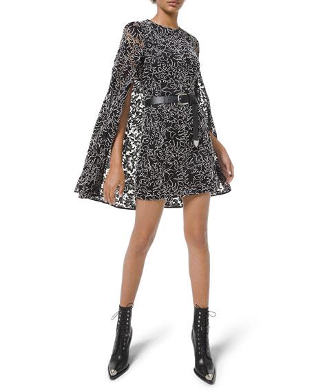 Michael Kors Collection Corded Lace Cape Dress
