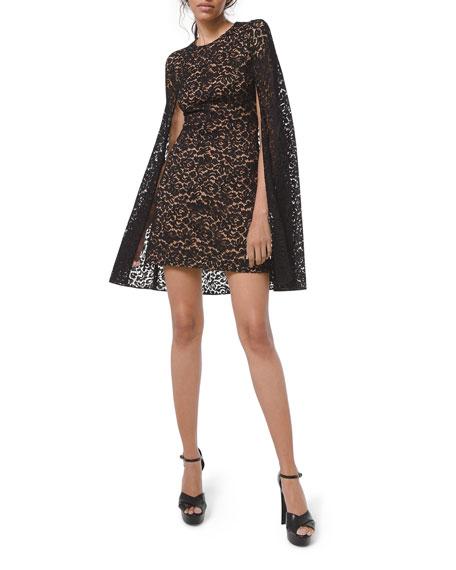 Michael Kors Collection Floral Lace Cape Dress