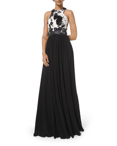 Calf Hair-Bodice Gown With Belt