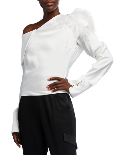 Aube Asymmetric Draped Top with Feathers