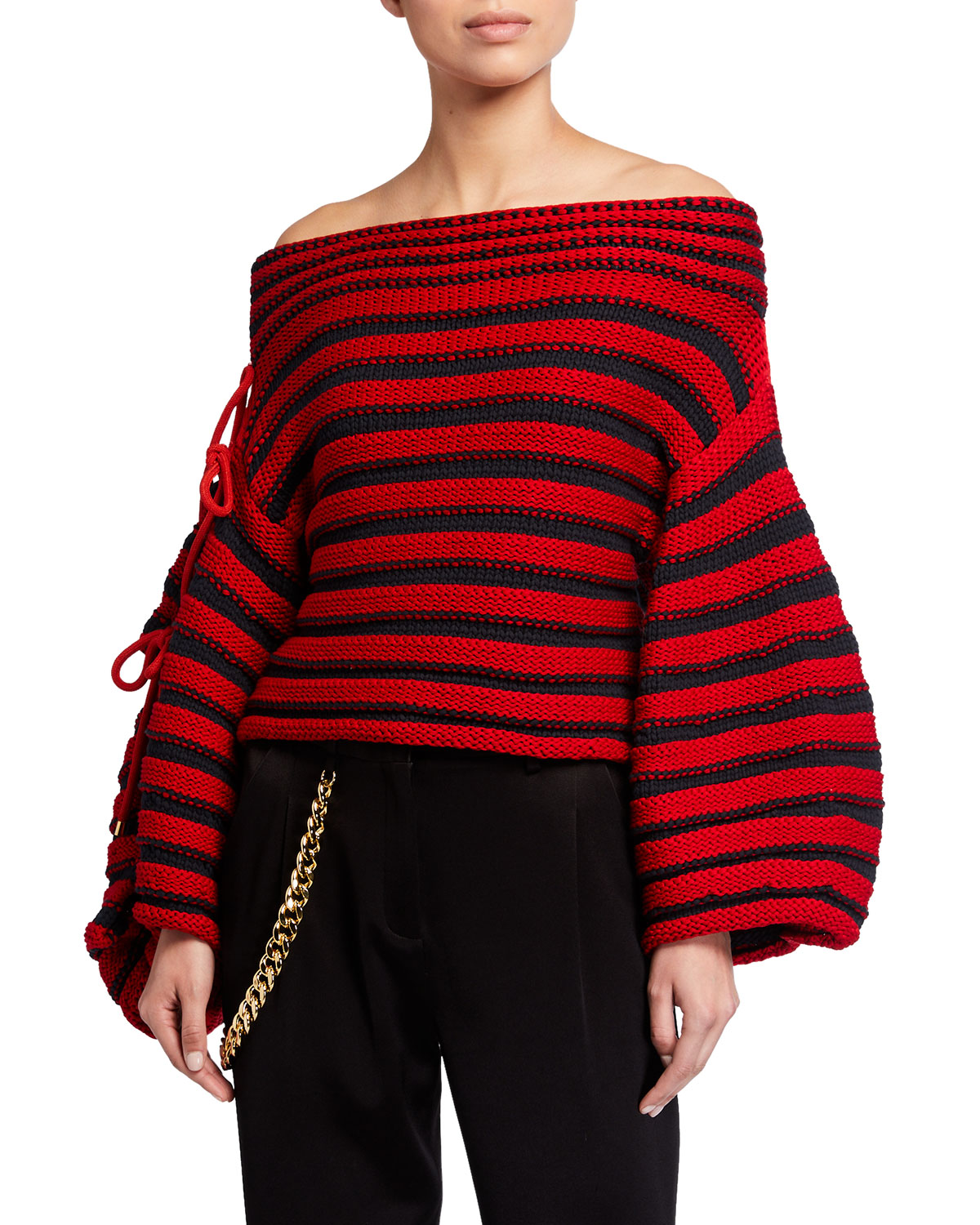 Renata Off-the-Shoulder Striped Balloon-Sleeve Sweater