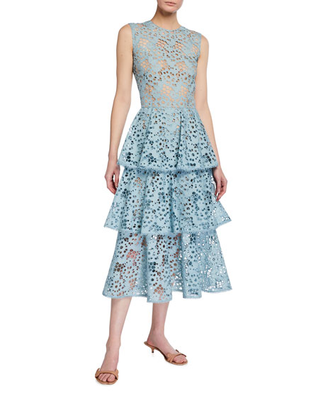 Oscar de la Renta Tiered Eyelet Lace Midi Dress