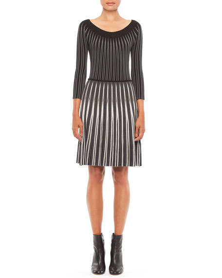Emporio Armani 3/4-Sleeve Jacquard Vertical Knit Dress