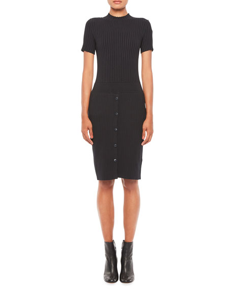 Emporio Armani Short Sleeve Rib-Knit Dress w/ Snap Buttons