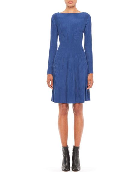 Emporio Armani Long-Sleeve Vertical Rib Knit Dress