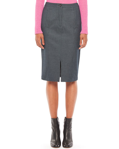 Emporio Armani Techno Viscose Denim Midi Pencil Skirt