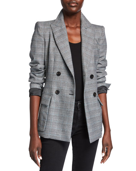 Emporio Armani Double Breasted Prince of Wales Stretch Wool Blazer