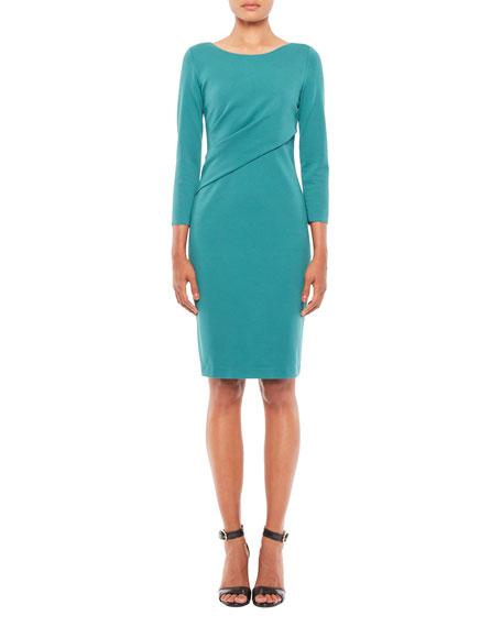 Emporio Armani 3/4-Sleeve Milano Jersey Sheath Dress with Ruching