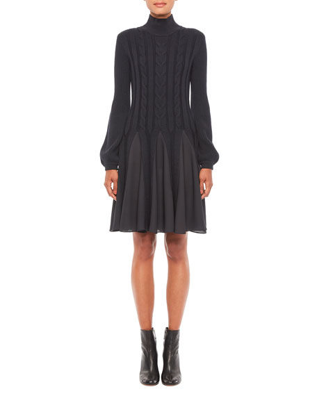Emporio Armani Cable Knit Mock-Neck Blouson-Sleeve Dress