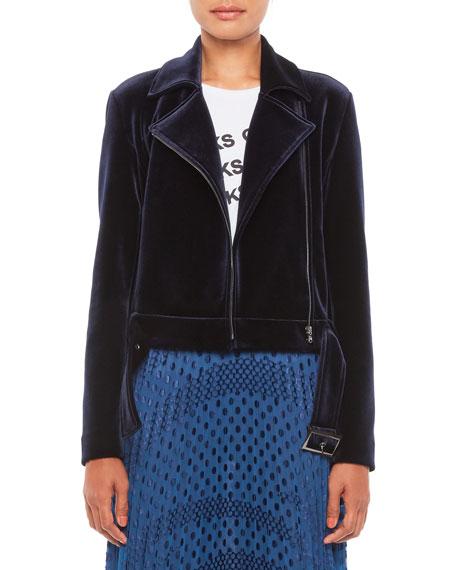 Emporio Armani Stretch Velvet Jersey Moto Jacket