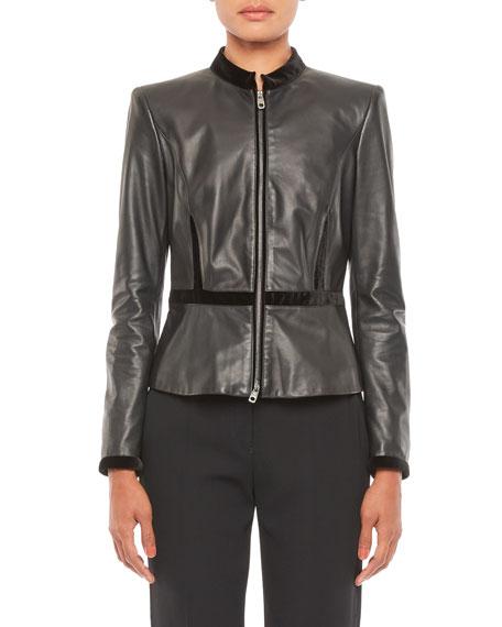 Emporio Armani Napa Leather Jacket with Velvet Trim