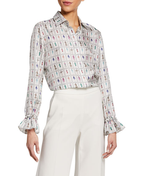 Maxmara Fashion-Print Silk Flounce-Cuff Shirt