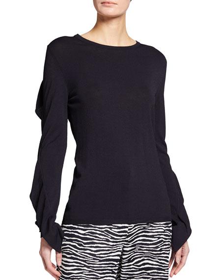 Maxmara Arabba Ruffle-Sleeve Jersey Top