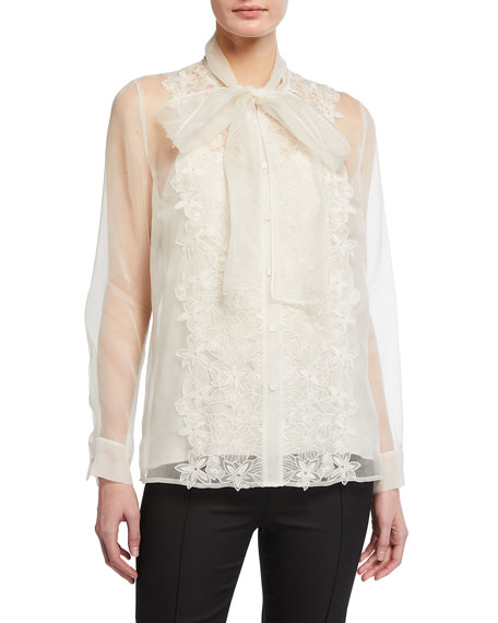 Escada Nherissa Embroidered Silk Organza Blouse