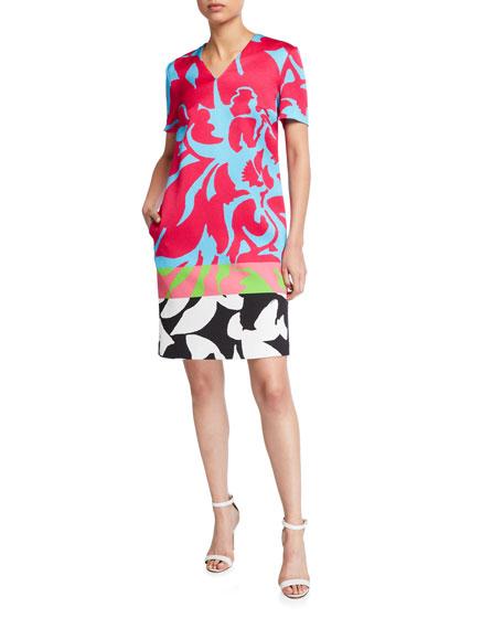 Escada Diviru Easy Colorblock V-Neck Dress with Pockets