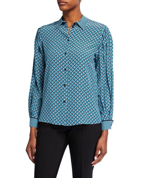 Escada Nellida Multi-Foulard Print Silk Shirt