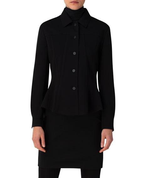 Akris punto Kent-Collar Jersey Button-Up Jacket