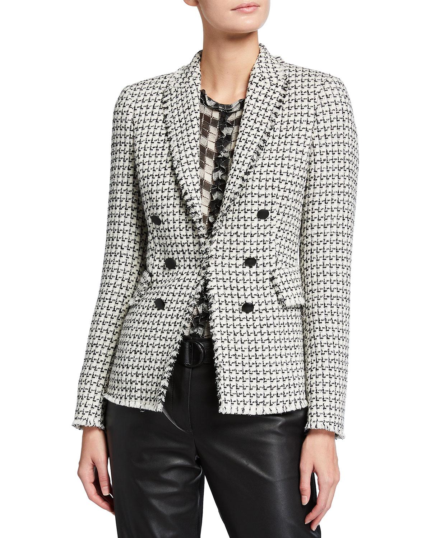 Mock Double-Breasted Peak Lapel Tweed Blazer