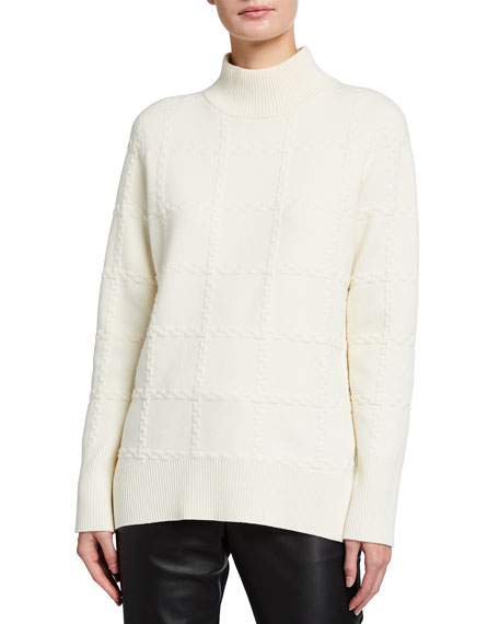 Akris punto Wool-Cashmere Intarsia Knit Turtleneck Sweater
