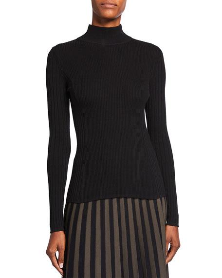 Akris punto Ribbed Mock-Neck Wool Sweater