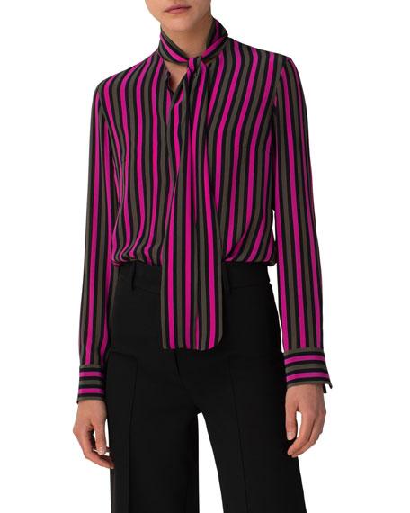 Akris punto Neon Pink Silk Stripe Blouse with Neck Tie