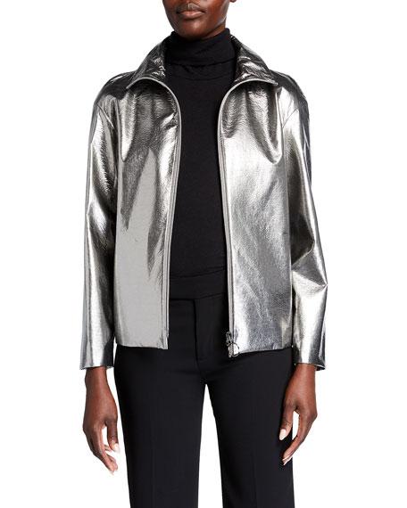 Akris punto Embossed Metallic Zip-Front Jacket