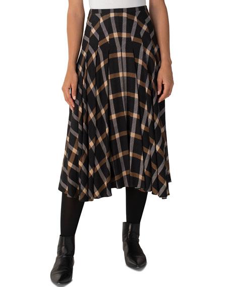 Akris punto Check Asymmetrical Midi Skirt