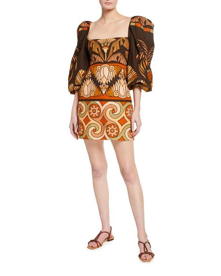 Johanna Ortiz Deluge Puff-Sleeve Mini Dress