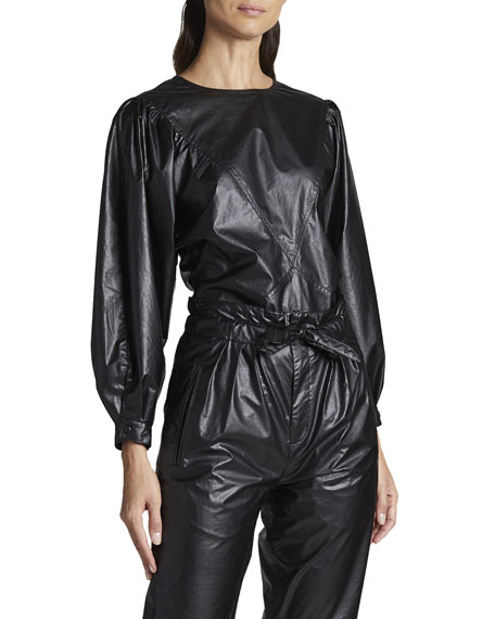 Isabel Marant Faux-Leather Long-Sleeve Top