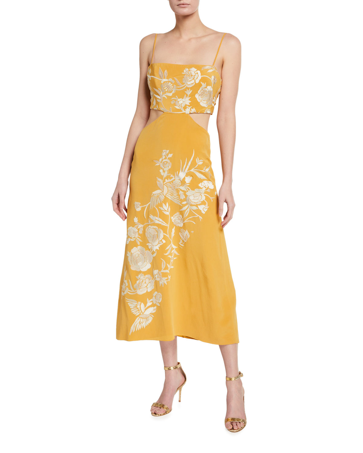 Moon Whispers Floral-Jacquard Silk Dress