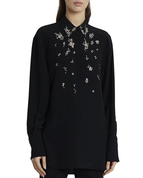 Givenchy Floral-Embellished Silk Crystal Blouse