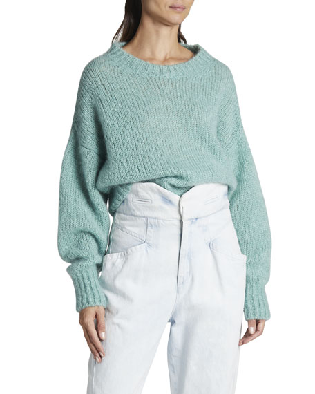 Isabel Marant Mohair Full-Sleeve Crewneck Sweater
