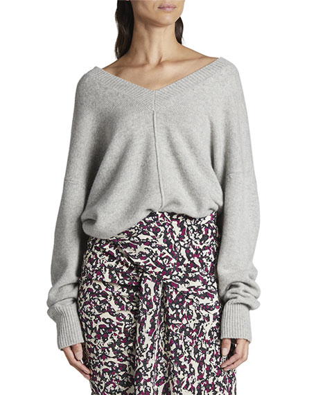 Isabel Marant Cashmere Center-Seamed V-Neck Sweater
