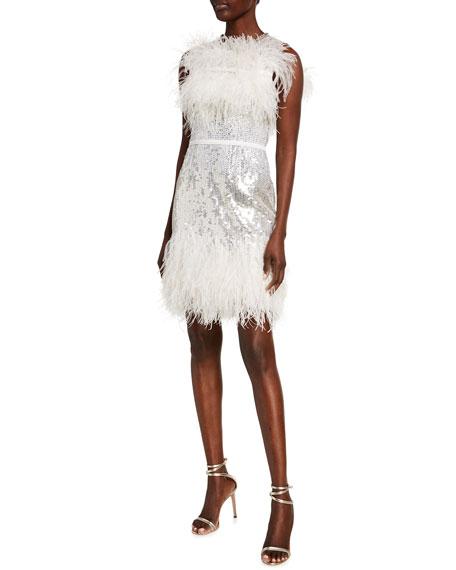 Jenny Packham Hula Sequined Feather-Trim Dress