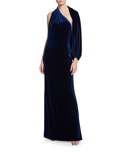 Velvet One-Sleeve Gown