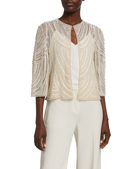 Naeem Khan Pearly Embroidered Jacket