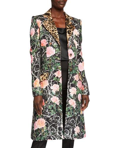 Floral & Leopard Print Coat