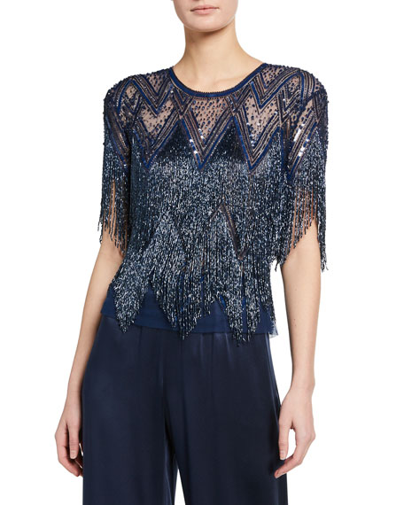 Naeem Khan Geometric Beaded Fringe Top
