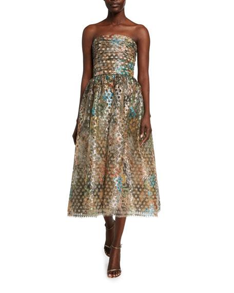 Monique Lhuillier Metallic Circle Lace Strapless Cocktail Dress