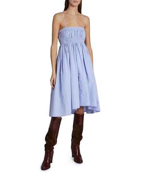 Chloe Spaghetti-Strap Ruched Fit-&-Flare Dress