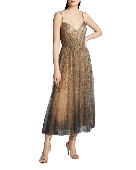 Monique Lhuillier Glittered Tulle Tea-Length Cocktail Dress