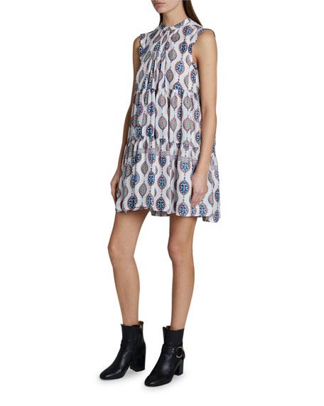 Chloe Ceramic Print Sleeveless Habutai Dress
