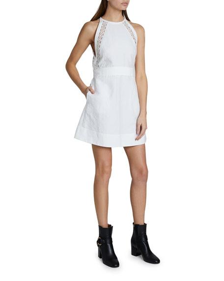 Chloe Lace Inset Sleeveless High-Neck Short Dress