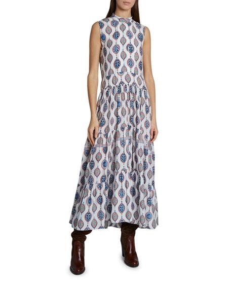 Chloe Ceramic Print Sleeveless Silk Maxi Dress