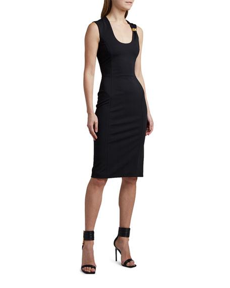 Versace Bodycon Midi Dress with Hardware Detail