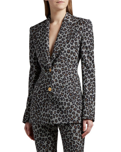 Leopard-Print Wool Blazer