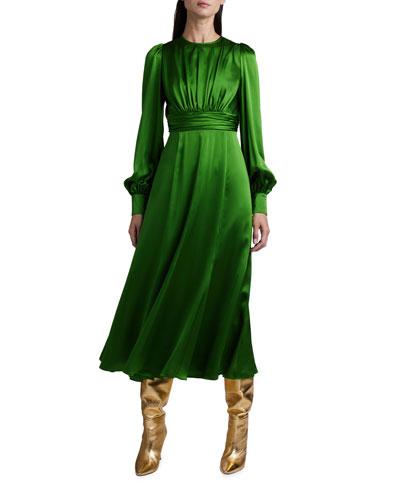Silk Full-Sleeve Midi Dress