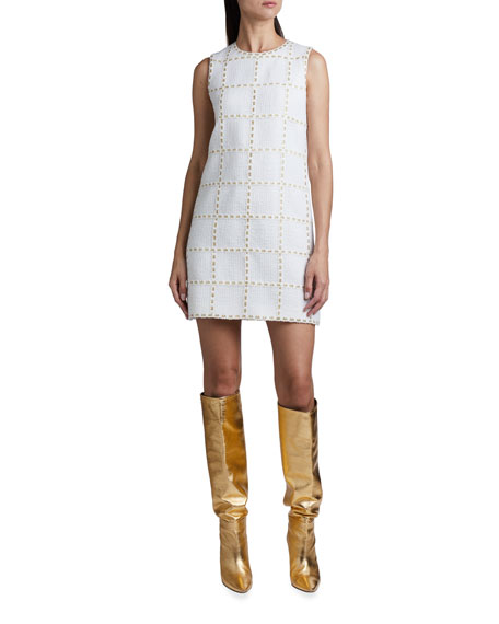 Andrew Gn Ribbon-Check Tweed Sheath Dress